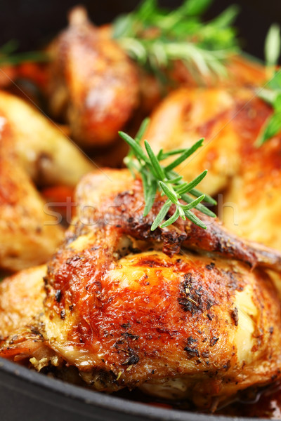 Roasted chicken with vegetable Stock photo © brebca