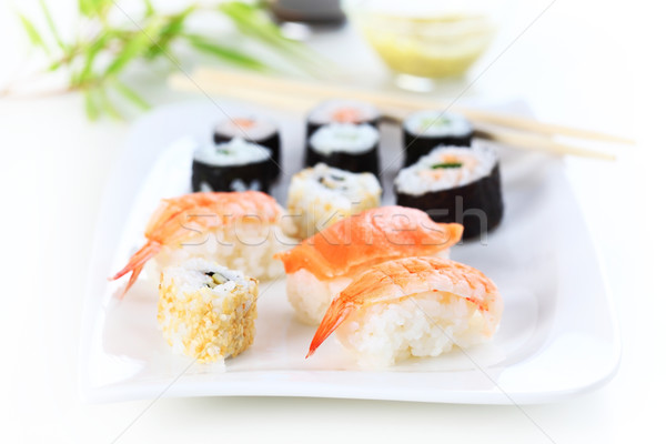 Szusi japán étel lövés hal étterem Stock fotó © brebca