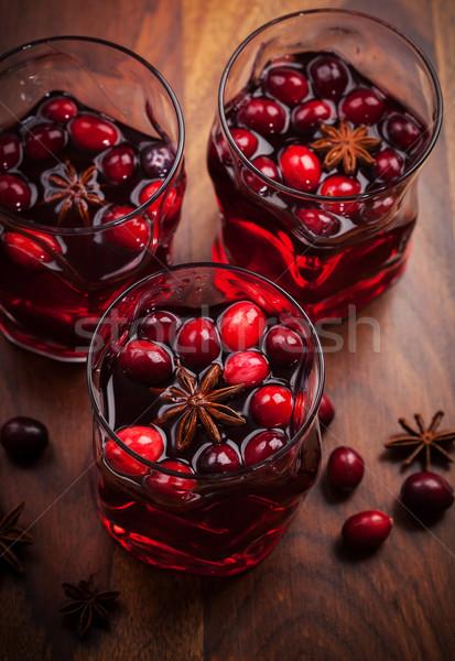 Forró ital áfonya karácsony fa asztal étel bor Stock fotó © brebca