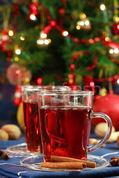 Sıcak içecek Noel lezzetli kurabiye ağaç mum Stok fotoğraf © brebca