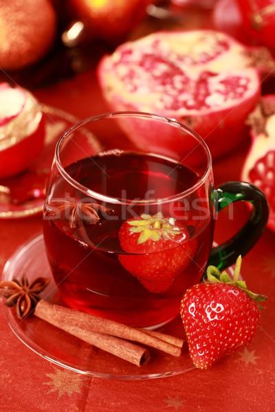 Warme drank winter christmas vers vruchten wijn Stockfoto © brebca