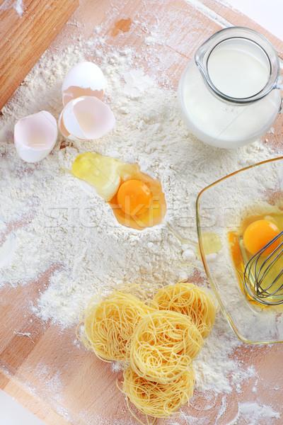 Ingredientes pasta huevo mesa Foto stock © brebca