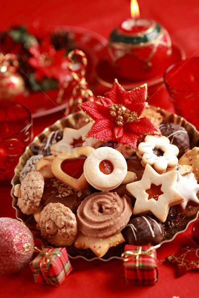 Stock fotó: Finom · karácsony · sütik · részlet · gyertyák · piros