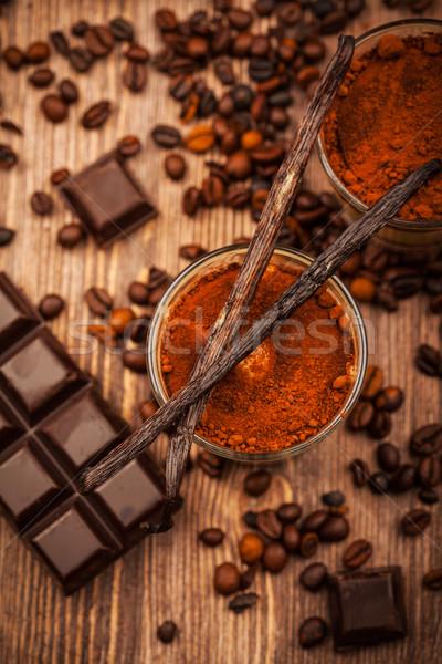 Tiramisu Dessert Zutaten Essen Schokolade Stock foto © brebca