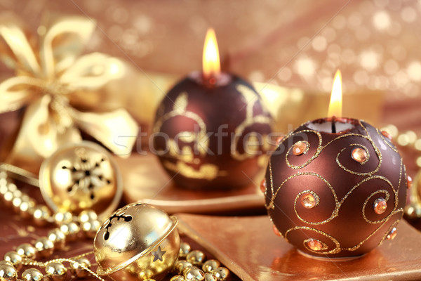 Photo stock: Joyeux · Noël · still · life · bougies · brun · or