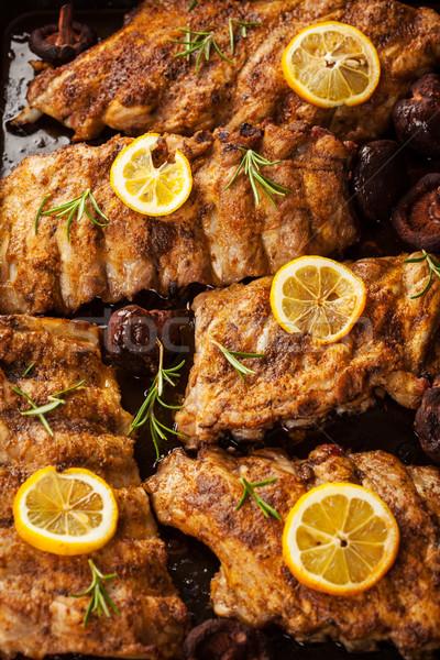 バーベキュー スペア リブ オレンジ 食品 煙 ストックフォト © brebca