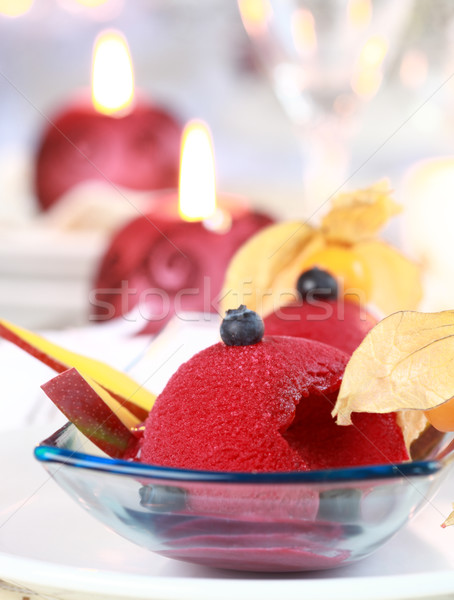 Red currant sorbet for Christmas Stock photo © brebca