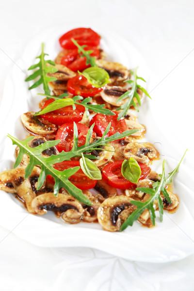 Champiñón marinado tomate restaurante vida vegetales Foto stock © brebca