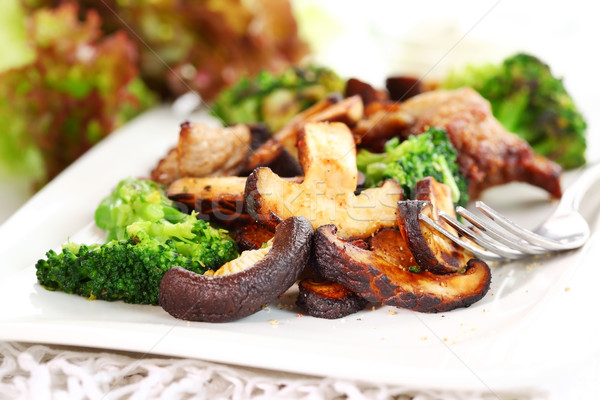 Roasted pork meat with shiitake mushrooms Stock photo © brebca