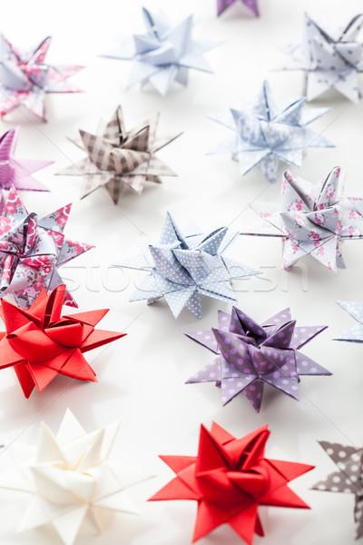 Variation of Paper Christmas stars Stock photo © brebca