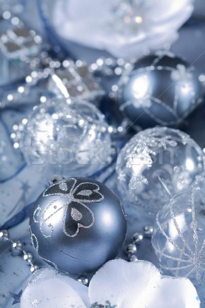 Noel detay gümüş top şerit Stok fotoğraf © brebca