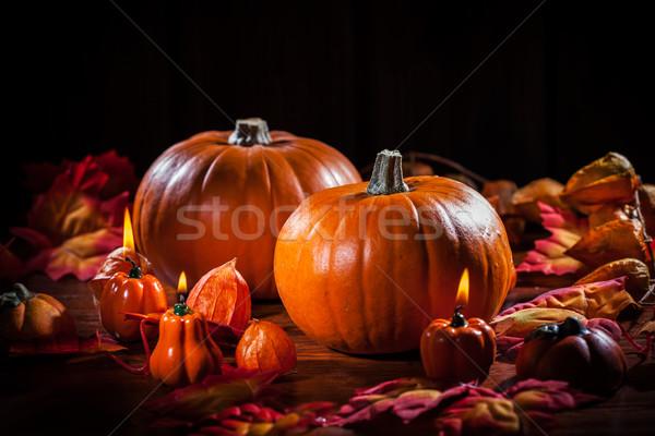 Şükran Günü halloween geleneksel doğa mum Stok fotoğraf © brebca