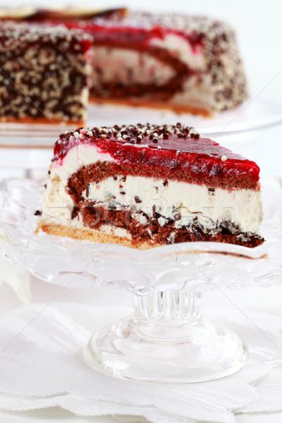 Pastel de cumpleanos delicioso cumpleanos placa frescos crema Foto stock © brebca