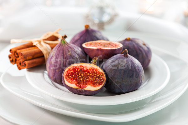Fresh figs with cinnamon for Christmas table Stock photo © brebca