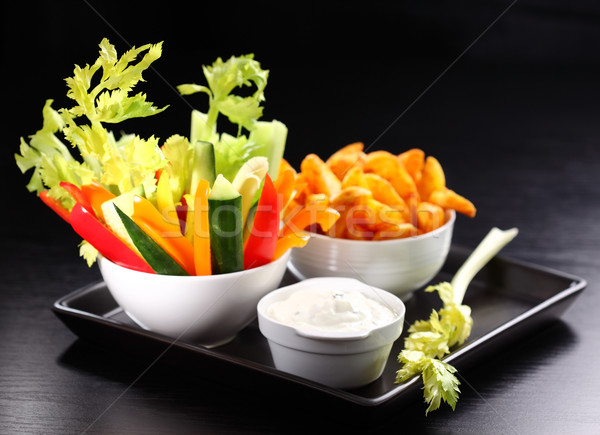 Raw vegetable and wedges with dip Stock photo © brebca