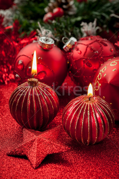 Christmas candles and balls in red Stock photo © brebca