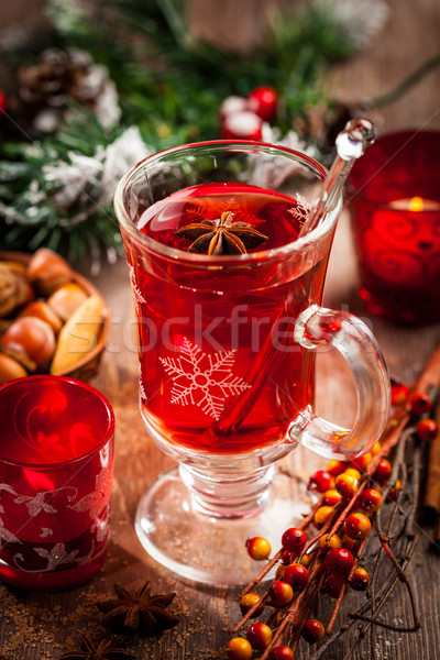 Hot wine punch with ingredients for Christmas Stock photo © brebca