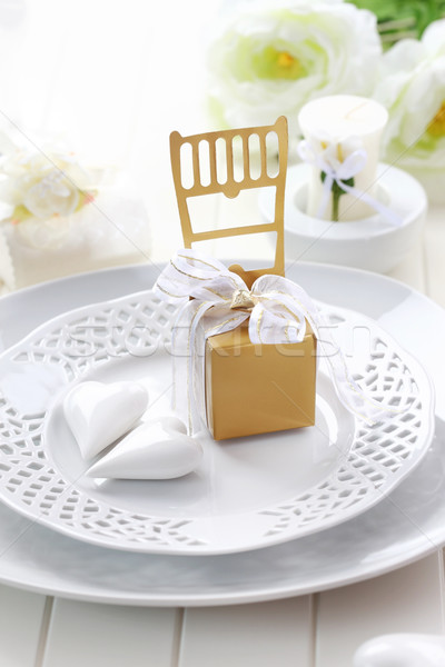 Stock photo: Luxury place setting in white