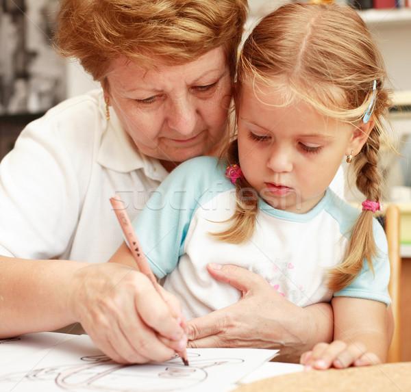 Oma kleindochter schilderij familie papier kind Stockfoto © brebca