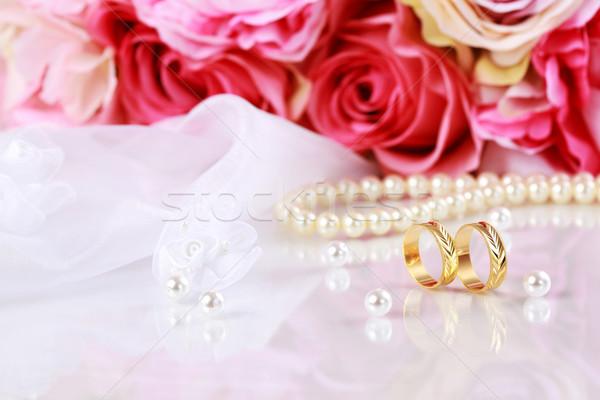 ślub martwa natura piękna złoty pierścienie bukiet Zdjęcia stock © brebca
