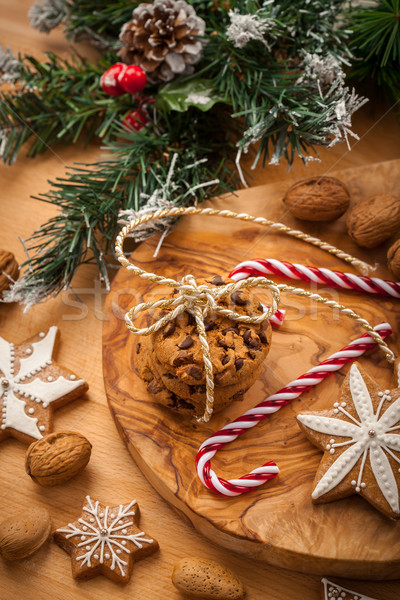 Christmas nut and chocolate cookies Stock photo © brebca