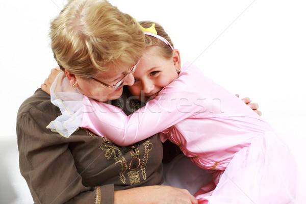 Happy girl with granny Stock photo © brebca