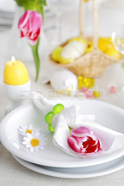 Paskalya tablo yer taze renkler çiçek Stok fotoğraf © brebca