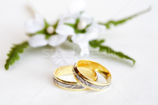 свадьба натюрморт красивой кольцами цветок Сток-фото © brebca