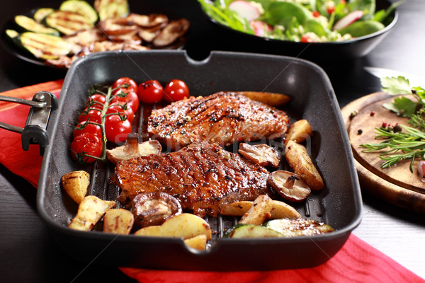 Delicious beef steak with grilled vegetable Stock photo © brebca