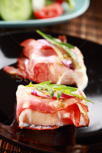 Prosciutto cheese rolls Stock photo © brebca