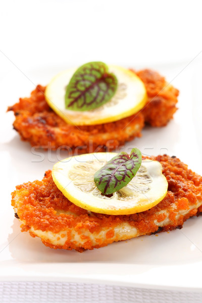 Breaded chicken schnitzel Stock photo © brebca