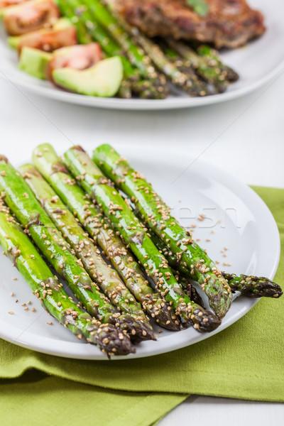 Glazed green asparagus  Stock photo © brebca