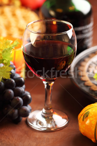 Glass of red wine for Thanksgiving Stock photo © brebca