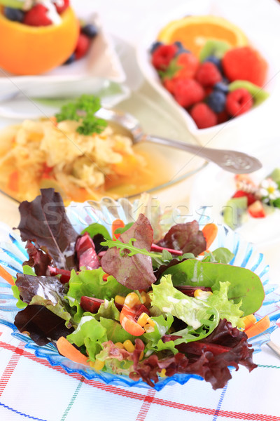 Vegetariano menu delicioso repolho sopa misto Foto stock © brebca