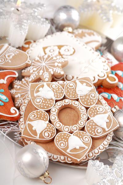 Zencefilli çörek Noel detay lezzetli gıda mumlar Stok fotoğraf © brebca