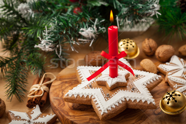 Homemade gingerbread candle for Christmas Stock photo © brebca