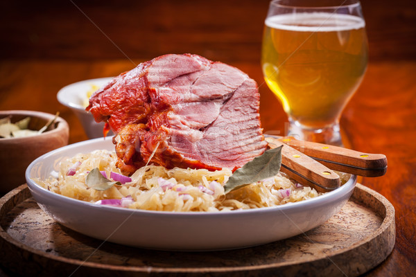 Füstölt disznóhús káposzta savanyú káposzta sör étel Stock fotó © brebca