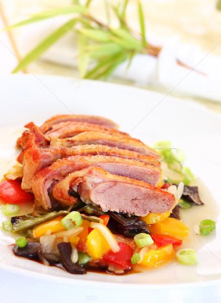 Stock fotó: Pörkölt · kacsa · finom · zöldségek · gyümölcs · étterem