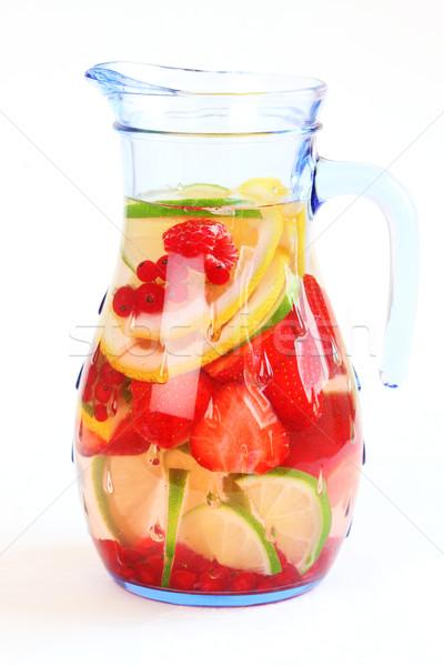 Frissítő nyár jegestea limonádé friss gyümölcsök Stock fotó © brebca
