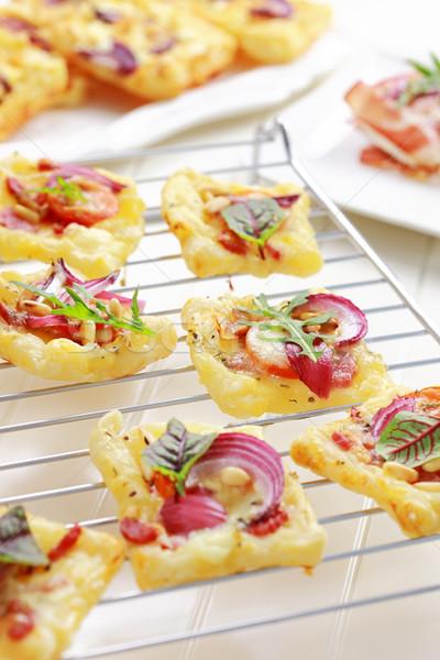Sütemény sajt paradicsom zöldségek torta kenyér Stock fotó © brebca
