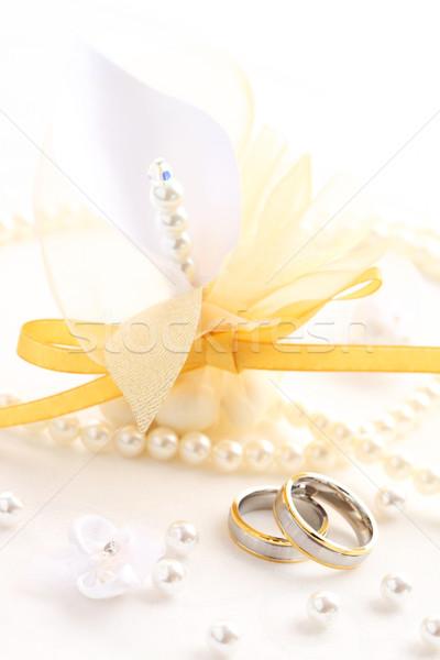 Alliances belle invité coffret cadeau vie or Photo stock © brebca
