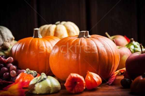 Tökök hálaadás halloween hagyományos meleg színek Stock fotó © brebca