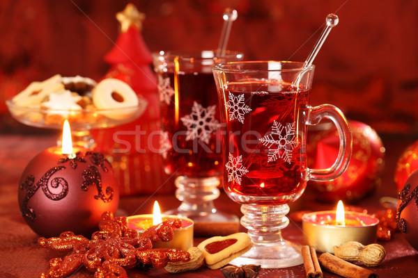 Sıcak içecek kış Noel lezzetli kurabiye şarap Stok fotoğraf © brebca