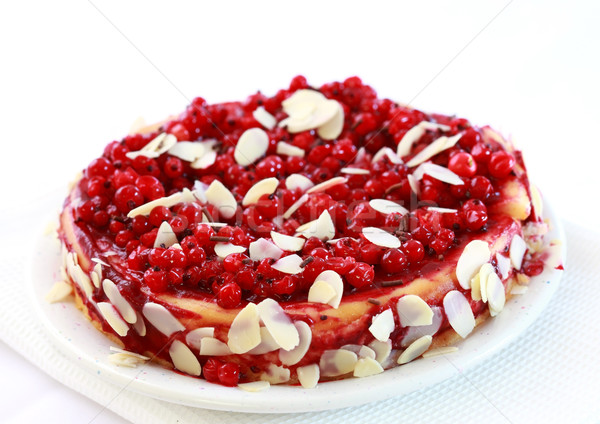 Redcurrant pie with almond Stock photo © brebca