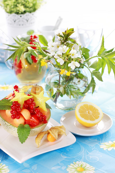 Summer refreshment with dessert fruit and lemonade Stock photo © brebca