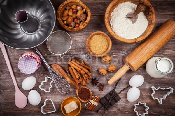 Baking utensils and ingredients Stock photo © brebca