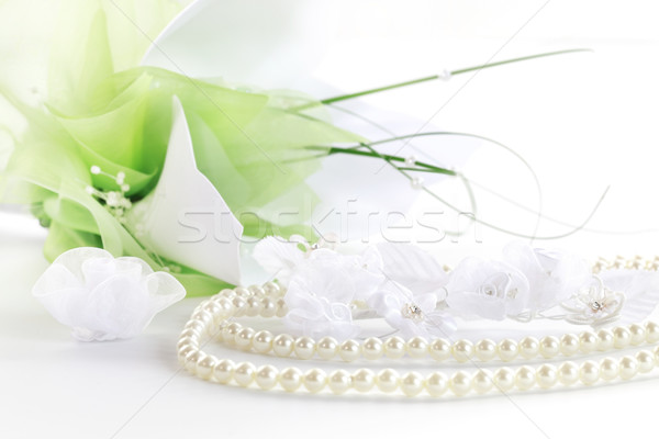 Wedding still life with necklace and bouquet  Stock photo © brebca
