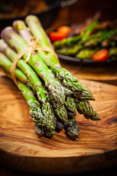 зеленый спаржа деревянный стол продовольствие таблице овощей Сток-фото © brebca
