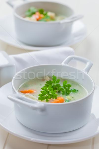 Green vegetable soup with bulgur Stock photo © brebca