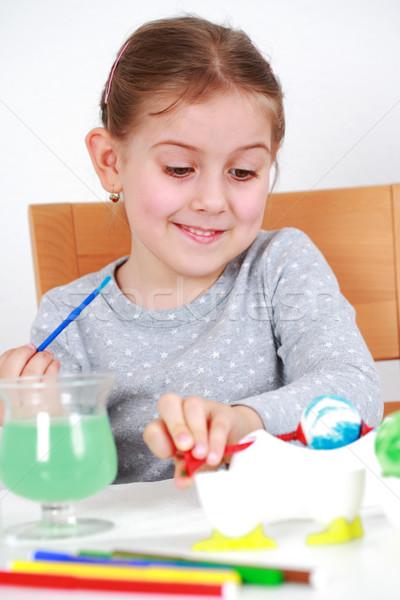 Живопись пасхальных яиц Cute девочку работу ребенка Сток-фото © brebca